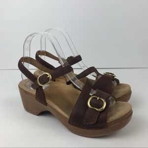 DANSKO Jamey Leather Clog Slingback Heels Size 38